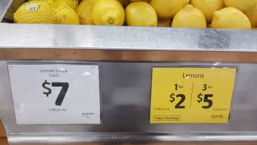Lemon prices at a Coles supermarket in Melbourne on Tuesday.