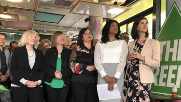 In happier times: (from left) Greens Sue Pennicuik, Samantha Dunn (who quit the party on Thursday), Nina Springle, Samantha Ratnam, Ellen Sandell. campaign in October 2018.