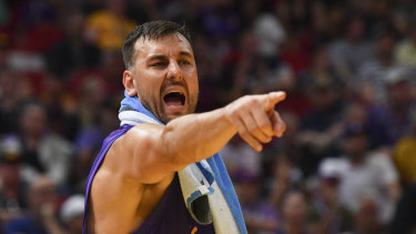Impassioned: Andrew Bogut gets vocal on the sidelines at Qudos Bank Arena in Sydney.