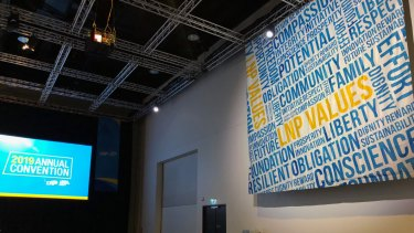 The LNP values banner at the convention.