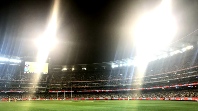 Floodlights ablaze at the MCG on Thursday night ahead of the Richmond v Hawthorn clash.