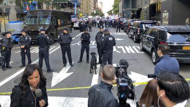 New York police cordon off several blocks around the CNN office in Manhattan on Wednesday.