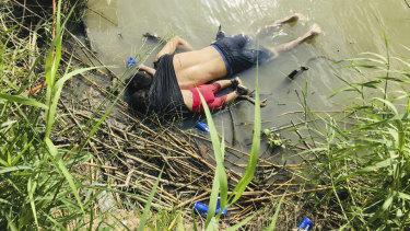 The bodies of Salvadoran migrant Oscar Alberto Martínez Ramírez and his 23-month-old daughter Valeria lie on the bank of the Rio Grande in Matamoros, Mexico.