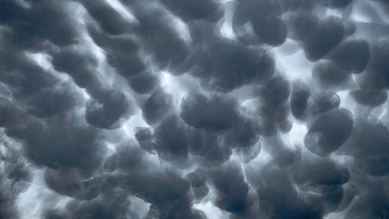 A mammatus cloud forms ahead of a thunderstorm tracking north east over Blaxland in Sydneys west on Wednesday afternoon.