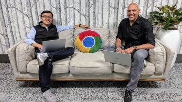 ChromeOS senior director Kan Liu (left), with Google VP and ChromeOS general manager Anil Sabharwal, at the company's Sydney site.
