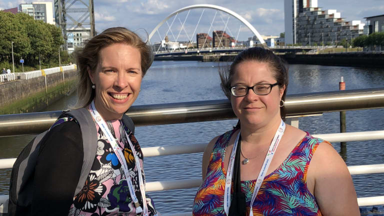 Elizabeth Callinan, left, with Claire-May Minett in Glasgow.