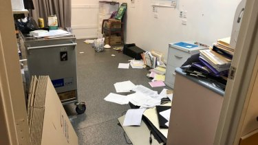An office at the retirement village was left in a mess following the dispute between People Care and HelpStreet.