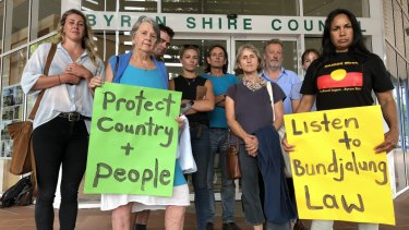 Locals protested outside Byron Shire Council for the clothing optional declaration removed from Tyagarah Beach.