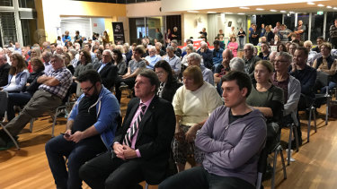 The Ryan electorate candidates forum where the NDIS funding concerns were raised on Wednesday night. Elaine, the mother who raised the concerns is in the photograph.