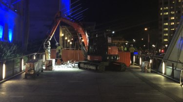 Night works were done in King George Square on May 1.