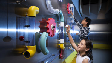 The Gravity Run exhibit allows visitors to test out different consequences of gravity.