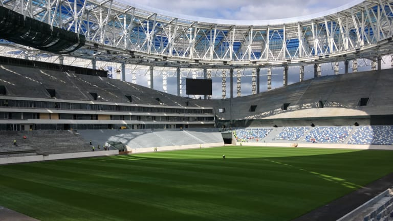 Grand stands: The Nizhny Novgorod stadium, built for the 2018 World Cup in Russia.