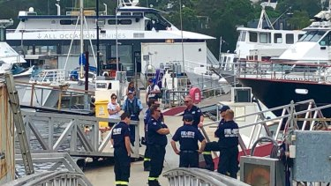 HAZMAT and RMS officers with staff and co-director of All Occasions Cruises Rosie Elias.
