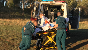 The man was flown to Royal Brisbane and Women's Hospital in a stable condition after his car ignited.