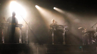 Rufus Du Sol played to a packed Fremantle crowd on Friday night.