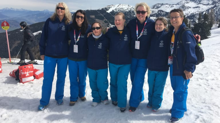 Amanda Beehag, right, in Austria with Team Australia for the 2017 World Winter Games.