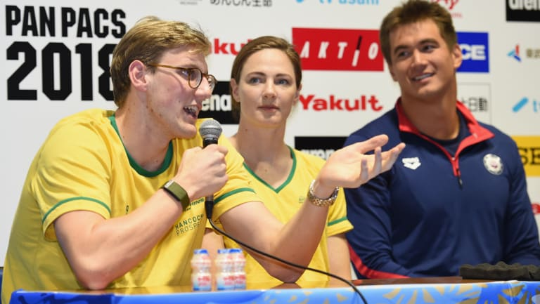 New focus: Mack Horton answers questions at the official press conference ahead of the 2018 Pan Pacific Swimming Championships in Tokyo.