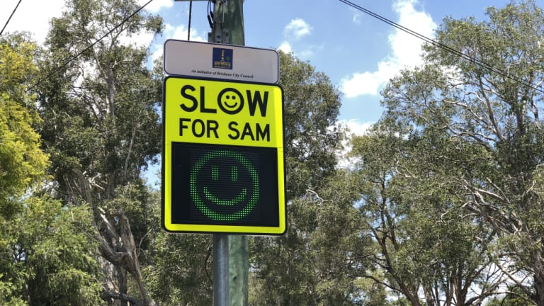 Brisbane City Council Slow for SAM sign.