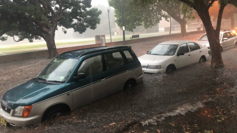 The rain caused flash flooding in Glebe on Wednesday morning.