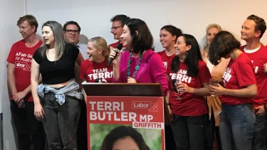 Terri Butler celebrates a rare win for Labor in Queensland in the Brisbane electorate of Griffith.
