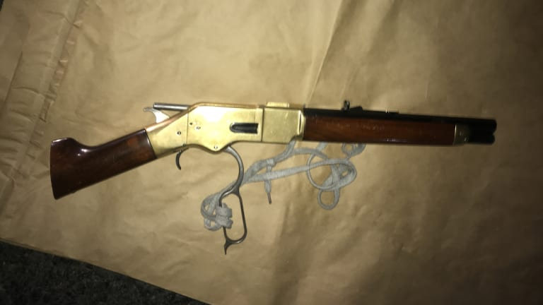 A sawn-off rifle police allegedly seized from Alexander Victor Miller on Tuesday night.