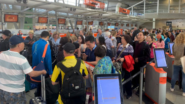 The scene at Sydney Airport's domestic terminal on Friday afternoon.