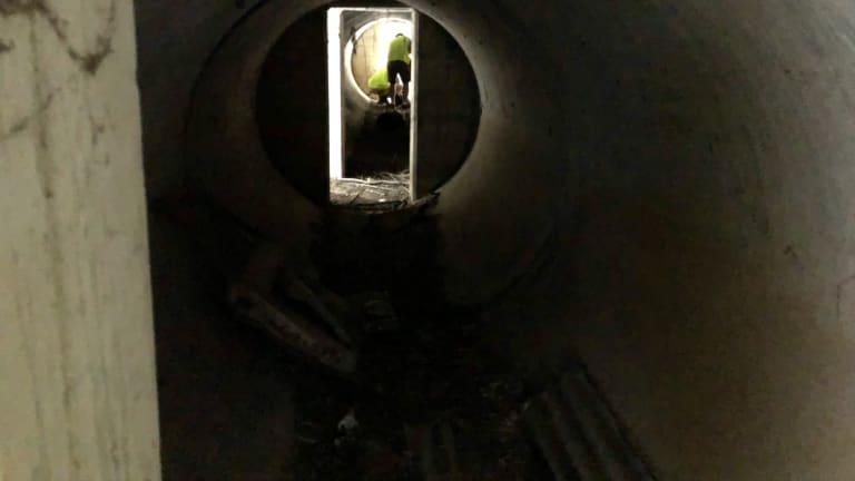 Inside a historic air-raid shelter at  Howard Smith Wharves.