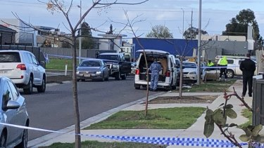 Police, including forensics, remained at the scene on Tuesday afternoon.