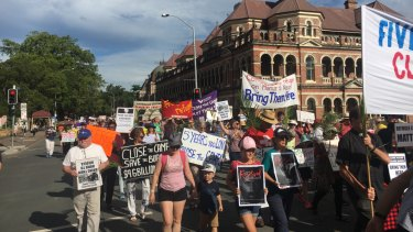 About 250 marched through Brisbane's city streets