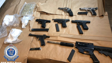Firearms and drugs seized by police during raids at Botany and Rockdale in August.