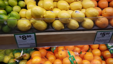 US lemons are selling for as much as $2 each, $8.80 per kilo, in Australian supermarkets.