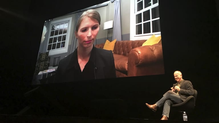 Chelsea Manning appearing via satellite at the Sydney Opera House.