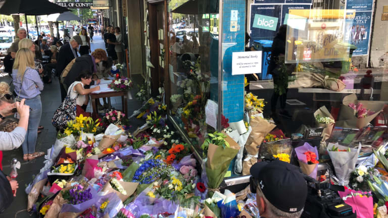 Flowers outside Pellegrini's Espresso Bar on Bourke Street, whose proprietor Sisto Malaspina was killed by Shire Ali.