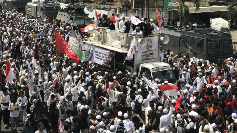 The protests took place against the backdrop of looming local elections