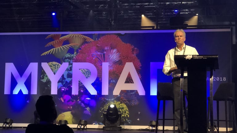 Bob Sharpless presenting at the Myriad Festival in Brisbane.
