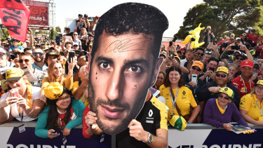 Head start: Australian fans out in support for Renault Australian driver Daniel Ricciardo.