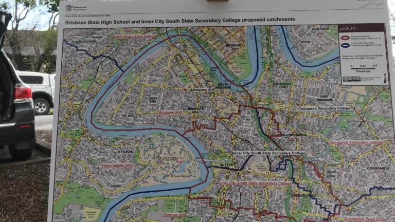 The maps show the precise streets in South Brisbane where students will no longer be eligible for direct entry to the popular school when the neighbouring high-rise school in Dutton Park opens in 2021.