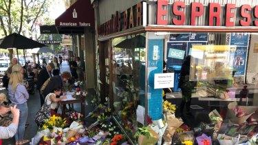 Flowers outside Pellegrini's Espresso Bar on Bourke Street last year.