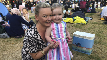 Erin Whitbread and two-year-old daughter Annabelle at Yarra Park.