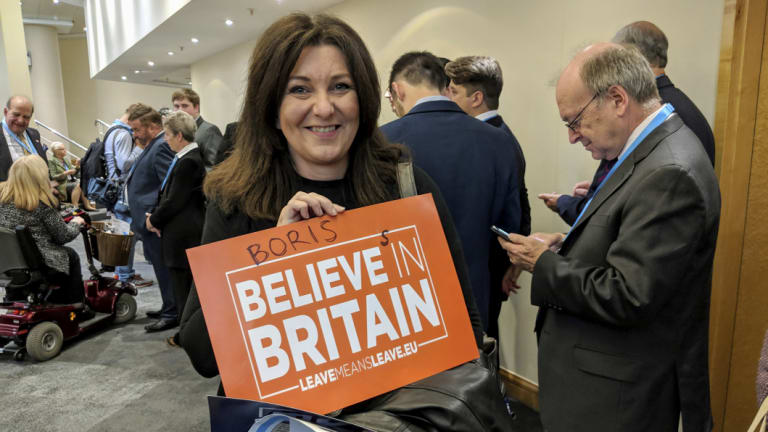 """Lisa Parker, 48 from Rugby, says Boris Johnson is a """"patriot""""."""