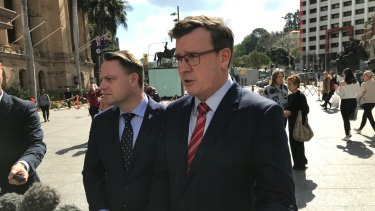 Federal Infrastructure Minister Alan Tudge in Brisbane for talks with Brisbane lord mayor Adrian Schrinner on Tuesday.