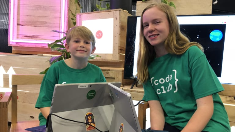 Ethan and Emily Hocking use Code Club to learn to code.