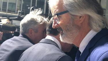 John Jarratt leaving the Downing Centre on Tuesday.