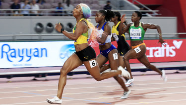 Fraser-Pryce out in front in the women's 100 metres final.