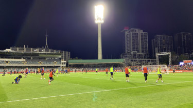 Manchester United training in Perth on Thursday.