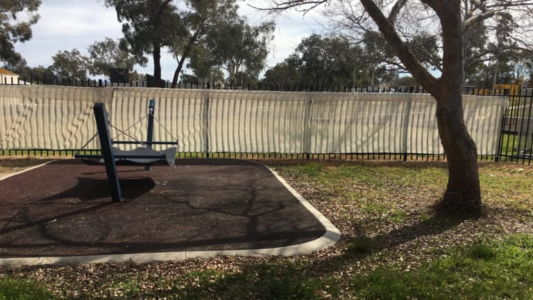The outdoor play area for Abdul, which also includes a trampoline.