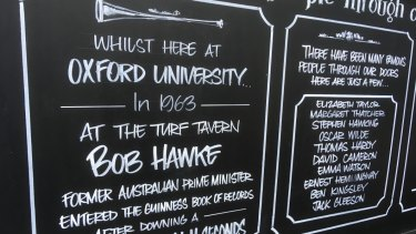 The Turf Tavern, in Oxford, commemorates former student Bob Hawke's record-breaking beer-drinking feat, which didn't occur there.