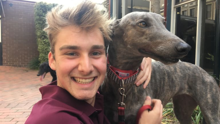 Student Chris Brown with a greyhound on Sunday.