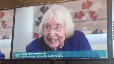 Inspirational: Merle Mitchell gives evidence at the royal commission.