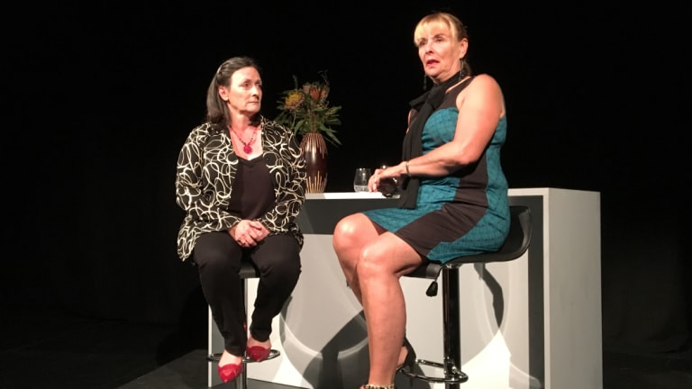 Elaine Noon as Jane), left, and Nikki-Lyn Hunter as Sarah in <i>Coda for Shirley</i>.